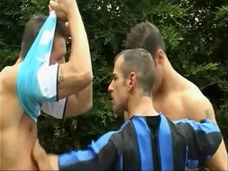 Three sexy footballers enjoy hot anal fucking gay threesome | anal top   enjoying   fucking   gays tube   sexy films   threesome