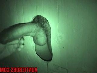 Auntie bob create a hidden gloryhole in a public restroom | gloryhole  public